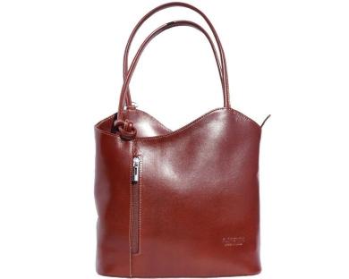Ladies Italian Leather Handbag,Convertible Rucksack, Backpack In Brown