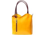 Ladies Italian Leather Handbag,Convertible Rucksack, Backpack In Yellow & Brown