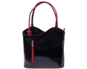 Ladies Italian Leather Handbag,Convertible Rucksack, Backpack In Black & Red