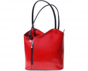 Ladies Italian Leather Handbag,Convertible Rucksack, Backpack In Red & Black