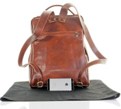 Luxury Italian Leather Ladies Mid Brown Classic Style Back Pack Rucksack Briefcase Shoulder Bag