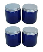 Pack of 4 x 120ml Empty Blue Glass Jar with Aluminium Lid for Aromatherapy, Cosmetics and Cream