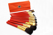 16 PCs Natural Wooden Make-up Brushes Professional Cosmetics Foundation Powder Brush Kit with Travel Pouch - Orange