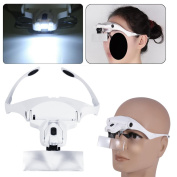 Headband Headset Magnifier, 5 Different Lenses Adjustable Loupe Visor Free Eyeglasses Bracket Interchangeable 2 LED Lights For Eye Lashes Extensions Tool