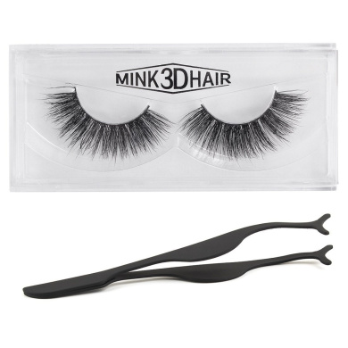 Rosette 3D Mink Fur Fake Eyelashes Natural Black Hand-made False Lashes 1 Pair Package False Eye Lashes with Tweezers Nipper For Women Gril Lady