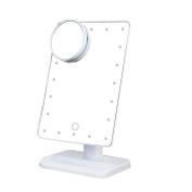 20 LED Light Cosmetic Makeup Mirror with Touch Screen and 10X Magnifying Spot Mirror