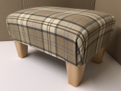 Footstool/ pouffee in a brown and beige tartan fabric....also available in different coloured fabrics...just ask and we can make it for you