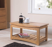 Crescent Solid Oak Living Room Furniture Coffee Table With Shelf