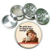 """Vintage World's Fair Poster S8 Chrome Silver 2.5"""" Aluminium Magnetic Metal Herb Grinder 4 Piece Hand Muller Herb & Spice Heavy Duty 63mm"""