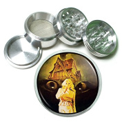 """Vintage Witchcraft Witch S3 Chrome Silver 2.5"""" Aluminium Magnetic Metal Herb Grinder 4 Piece Hand Muller Herb & Spice Heavy Duty 63mm Spooky"""