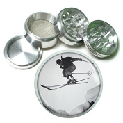"""Vintage Skiing Skier Ski's S23 Chrome Silver 2.5"""" Aluminium Magnetic Metal Herb Grinder 4 Piece Hand Muller Herb & Spice Heavy Duty 63mm Winter Snow"""