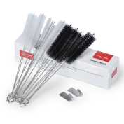 YOUKEE 21cm Nylon Tube Brush Set, 20PCS Pipe Cleaning Brush Set with 2 Stainless Steel Straws, for Straws, Glasses, Keyboards, Coffee Machine Cleaning