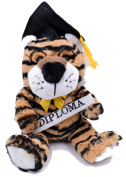Graduation Tiger with Cap Holding A Diploma Plush Toy 24cm Stuffed Animal