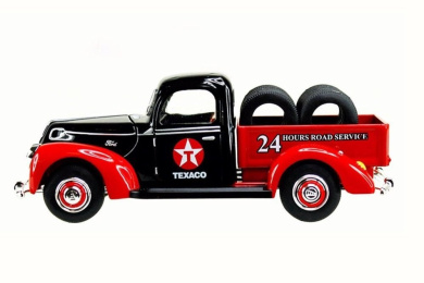 1940 Texaco Ford Pick-Up Truck w/ Tyres, Red - Texaco 0612R - 1/32 Scale Diecast Model Toy Car