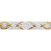5 Yards of Gold Southwestern Aztec Elastic - 1.6cm Metallic Foil FOE - Headbands Hair Ties Favours - Fashion Elastic