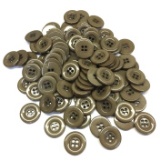 """3/4"""" (18 mm) Dark Tan Resin Buttons - Pack of 100"""