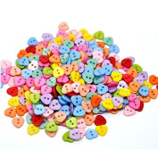 ULTNICE 100pcs Cute Heart Shaped wooden Sewing Buttons Multicolor 2 Holes