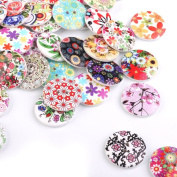 ULTNICE 100Pcs 25mm Wooden Buttons Drawing Mixed colours Sewing Buttons