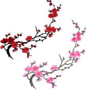Buytra 2 Pieces Flowers Iron on Patches Embroidery Applique Patches for Jeans, Jackets, Clothing, Bags, Red and Pink Plum Blossom