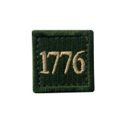 1776 American Independence Emblem Tactical USA Morale Embroidered Applique Hook and loop Patch - Olive Green