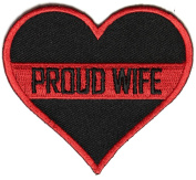 PROUD WIFE HEART FIRE FIGHTER PATCH - Colour - Veteran Owned Business.