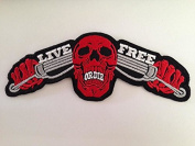 LIVE FREE OR DIE size 14 x 5.5cm. biker heavy metal Horror Goth Punk Emo Rock DIY Logo Jacket Vest shirt hat blanket backpack T shirt Patches Embroidered Appliques Symbol Badge Cloth Sign Costume Gift