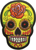 Skull rose (yellow) patch SIZE 6.5x9cm. biker heavy metal Logo Jacket Vest shirt hat blanket backpack T shirt Patches Embroidered Appliques Symbol Badge Cloth Sign Costume Gift