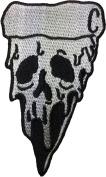 Pizza Skull(WHITE) size 6x10.5cm. biker heavy metal Horror Goth Punk Emo Rock DIY Logo Jacket Vest shirt hat blanket backpack T shirt Patches Embroidered Appliques Symbol Badge Cloth Sign Costume Gift