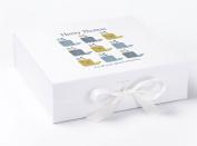 Keepsake Box, Baby Keepsake Box, Christening Keepsake Box, Baby Boy Gifts, Whale Print Memory Box, Large Keepsake Box, White keepsake Box, Blue Keepsake Box