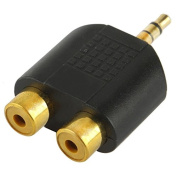 Audio Adapters, Golden Plated RCA Female to 3.5mm Male Jack Audio Y Adapter