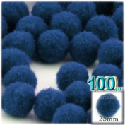 The Crafts Outlet 100-Piece Multi purpose Pom Poms, Acrylic, 25mm/about 1.0-inch, round, Royal Blue
