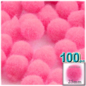 The Crafts Outlet 100-Piece Multi purpose Pom Poms, Acrylic, 25mm/about 1.0-inch, round, Hot Pink