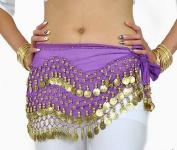 W & W Purple Belly Dance Skirt Hip Scarf