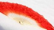 Fire Red Silk Flutter Dance Fan