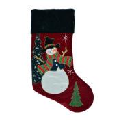 Snowmen With Glittered Tree & Scarf 3-D Velvet Christmas Stocking