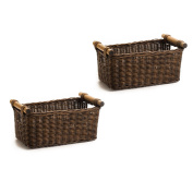 The Basket Lady Petit Wicker Storage Basket, 2 pcs Medium, Antique Walnut Brown