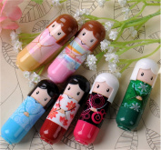 Interesting 6PCS Cute Cartoon Kimono Geisha Doll Lip Balm Gloss Solid Stick Moisturiser