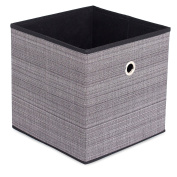 Internet's Best Canvas Storage Bin | Durable Storage Cube Box Basket Container | Clothes Nursery Toys Organiser | Grey