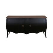 East at Main's Fuji 2 Door Cabinet Vintage Black Top Rustic Brown Antique w/ Sungkai Wood and Mango Wood