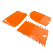 JJOnlineStore - 3 Plastic Decorating Cake Scrappers Icing Fondant Baking Plain Smooth Jagged Edge