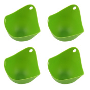 4 PCS Silicone Egg Poachers Moulding Cups Kitchen Cookware Baking Tool in Microwave Oven Steamer Green