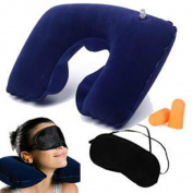 Ardisle Travel 3 Set Inflatable Neck Pillow Cushion Ear Plugs Eye Mask Air Plane Camping