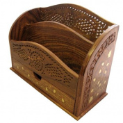 Indian Jali Letter Rack with Brass Inlay 25cm x 18cm Sheasham 2 Compartment with Draw