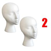 Foam Mannequin Head, Tonsee 2PC Styrofoam Foam Mannequin Female Head Model Wig Glasses Hat Display Stand