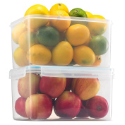 Komax Biokips Large Food Storage Container 4580ml (set of 2) - Airtight, Leakproof With Locking Lids - BPA Free Plastic - Microwave, Freezer and Dishwasher Safe - Great For Fruit & Vegetables