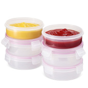 Komax Biokips Food Storage Round Dip Container 560ml (set of 6) - Airtight, Leakproof With Locking Lids - BPA Free Plastic - Microwave, Freezer and Dishwasher Safe