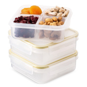 Komax Biokips Food Storage Container Divided With 4 Compartments 680ml (set of 3) - Airtight, Leakproof With Locking Lids - BPA Free Plastic - Microwave, Freezer and Dishwasher Safe