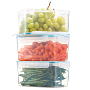 Komax Biokips Large Food Storage Container 2400ml (set of 3) - Airtight, Leakproof With Locking Lids - BPA Free Plastic - Microwave, Freezer and Dishwasher Safe - Great For Fruit & Vegetables