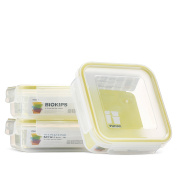 Komax Biokips Food Storage Sandwich Lunch Box Container 680ml (set of 3) - Airtight, Leakproof With Locking Lids - BPA Free Plastic - Microwave, Freezer and Dishwasher Safe