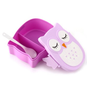 Food Storage Containers Microwave Bento Lunch Box Kitchen Cooking Tools food container Owl Portable Bento Lunch Box Plastic Cute Cartoon Food Fruit Storage Container Purple By gangnumsky